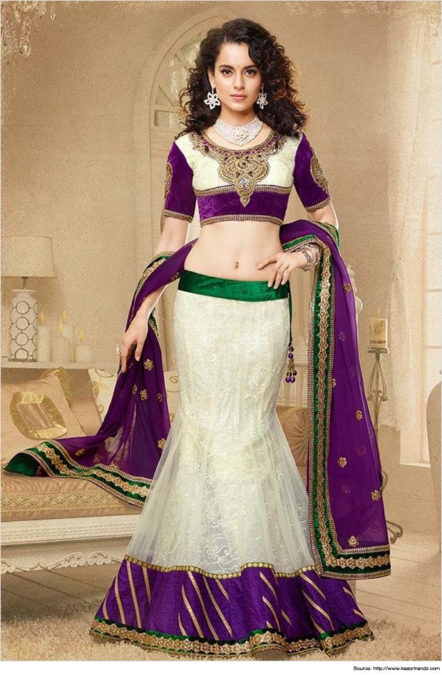 f44c0b8734 Fish-cut-lehenga-Classy-White-Mermaid-Cut-Lehengas - Tamarind Weddings